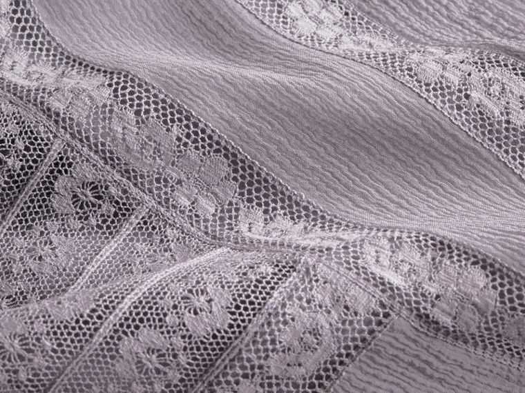 Lace Detail Silk Crepon Dress in Pale Lilac - Women | Burberry Hong Kong - cell image 1