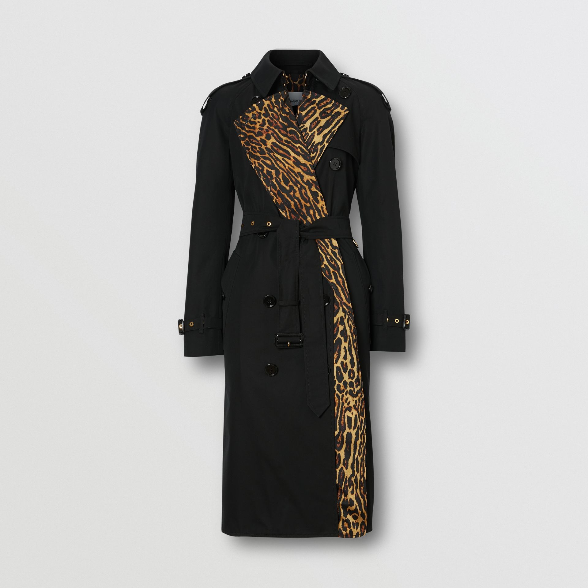 Leopard Print-lined Cotton Gabardine Trench Coat in Black - Women | Burberry Singapore - gallery image 7