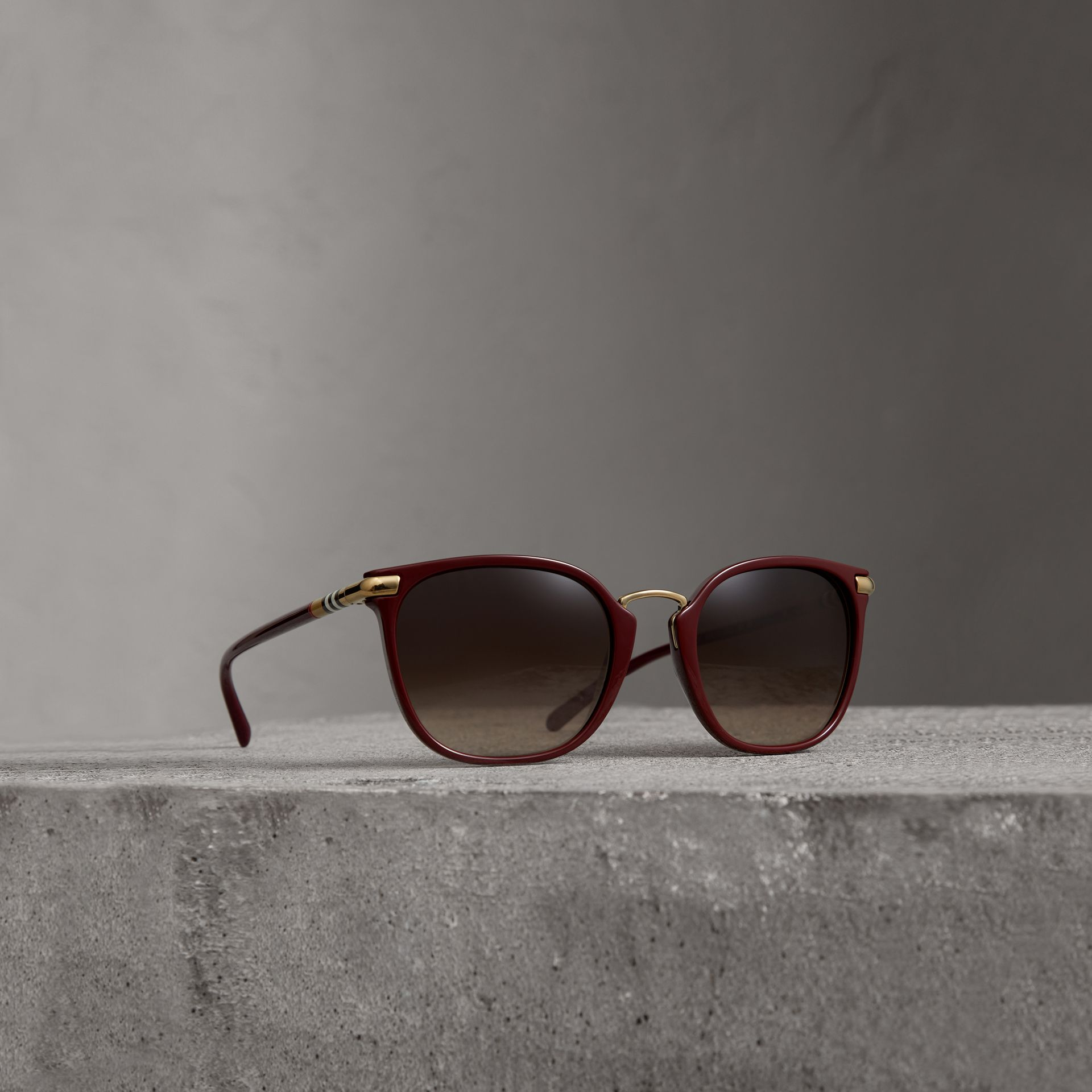 Check Detail Square Frame Sunglasses in Burgundy - Women | Burberry - gallery image 0