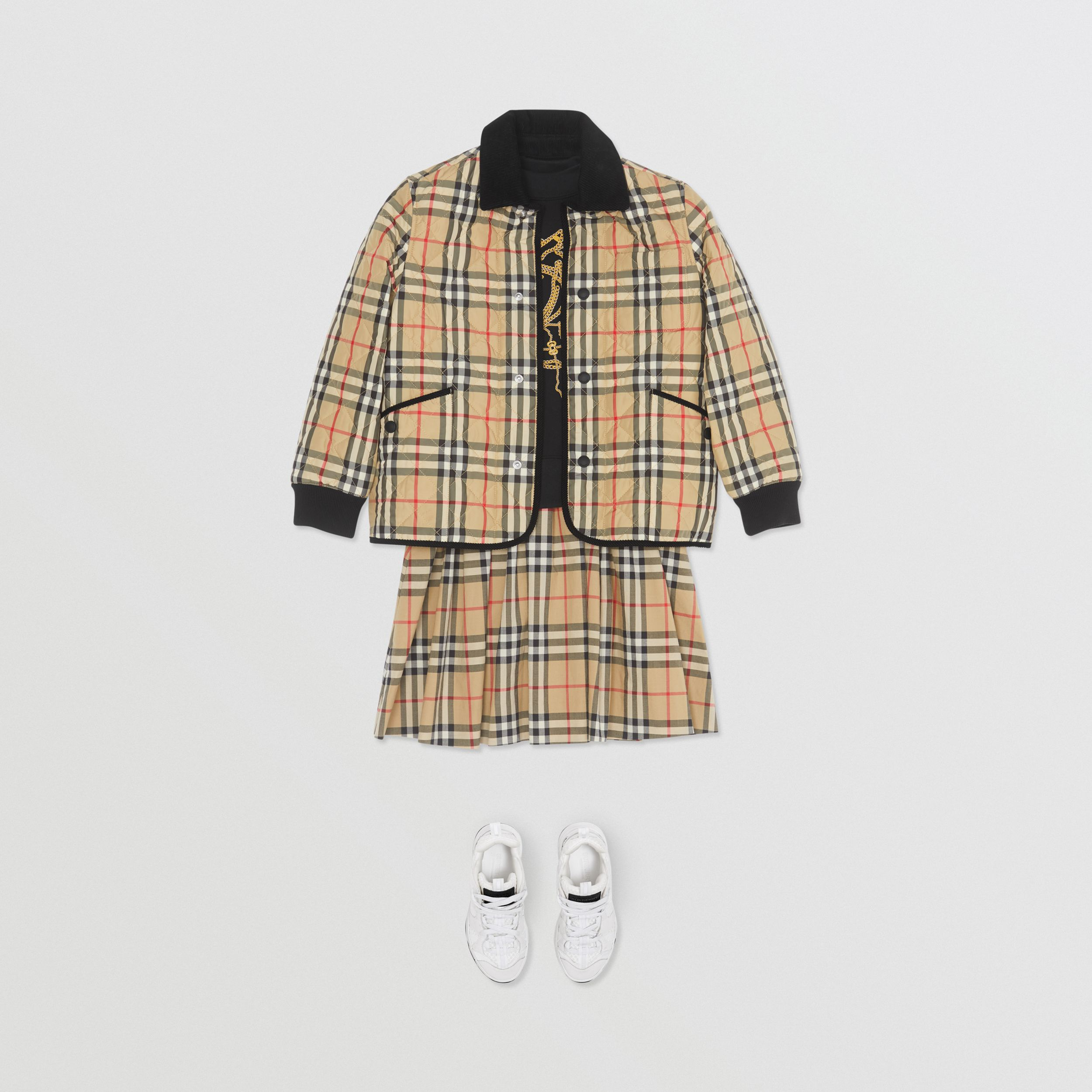 Corduroy Trim Vintage Check Diamond Quilted Jacket in Archive Beige | Burberry - 3