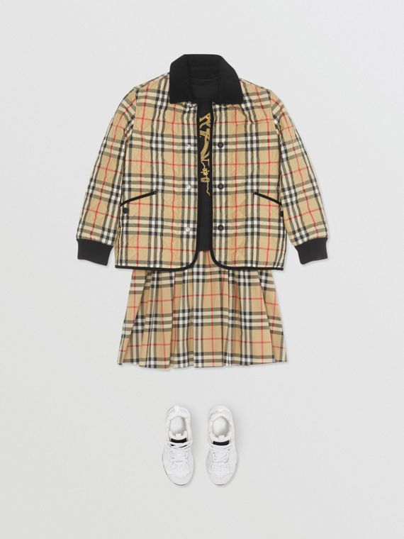 Corduroy Trim Vintage Check Diamond Quilted Jacket in Archive Beige