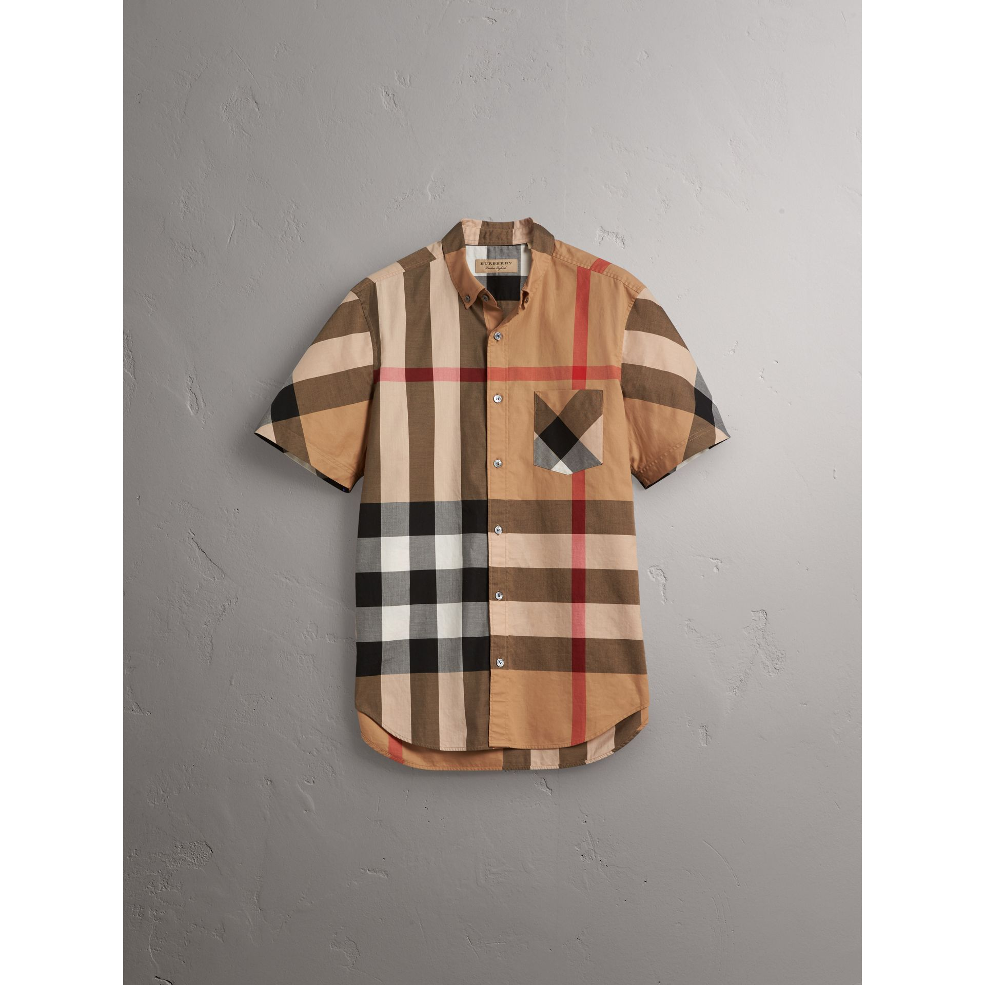 Short-sleeve Check Stretch Cotton Blend Shirt in Camel - Men | Burberry - gallery image 4