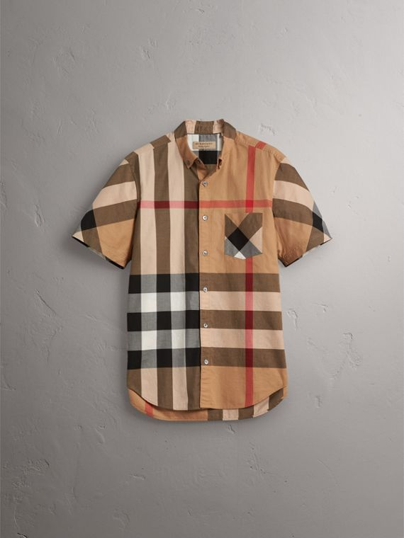 Short-sleeve Check Stretch Cotton Blend Shirt in Camel - Men | Burberry Singapore - cell image 3