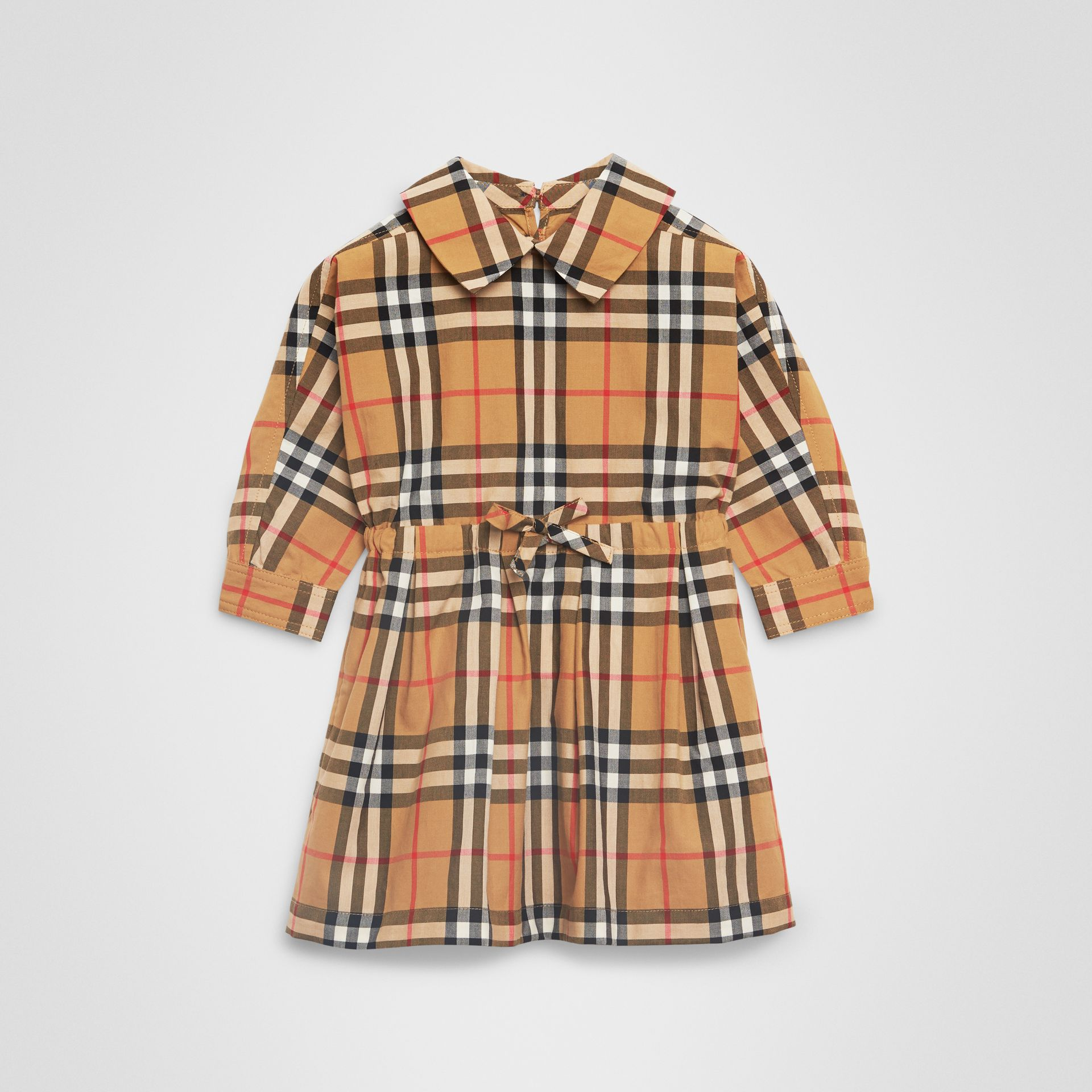 Robe à cordon de serrage en coton à motif Vintage check (Jaune Antique) - Enfant | Burberry - photo de la galerie 0