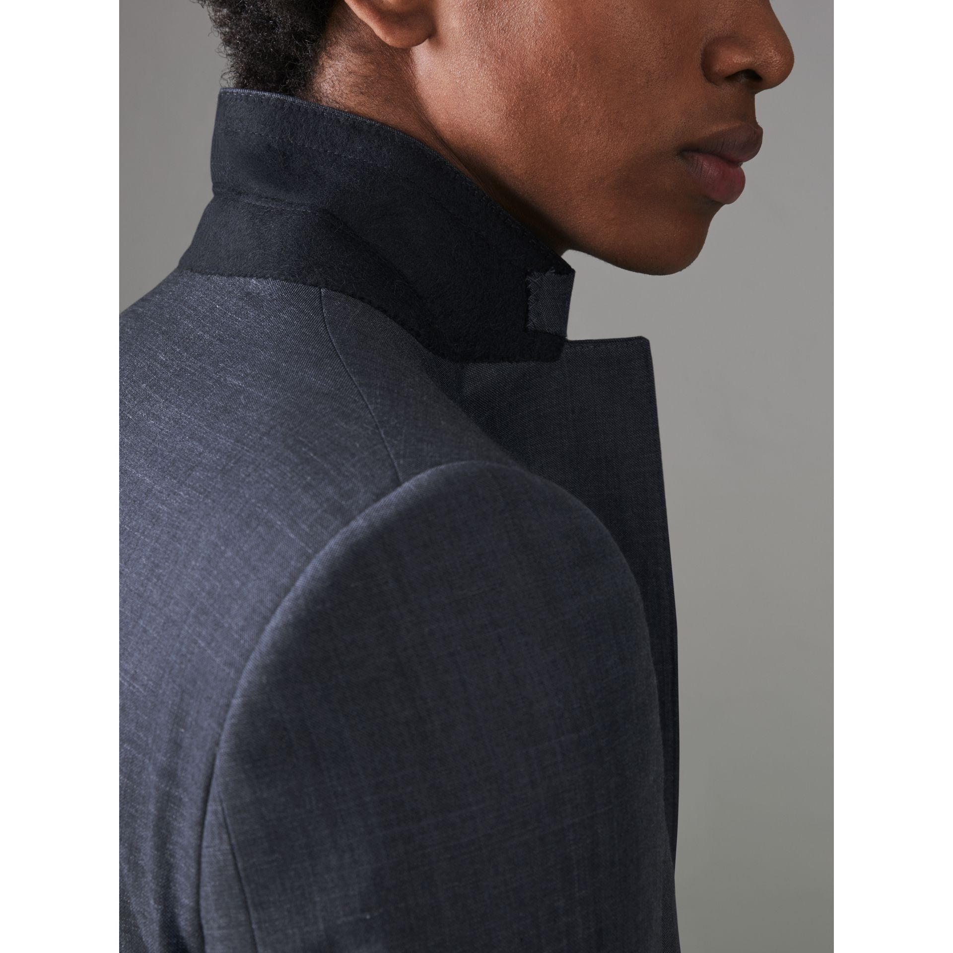 Slim Fit Wool Silk Linen Suit in Bright Navy - Men | Burberry Canada - gallery image 6