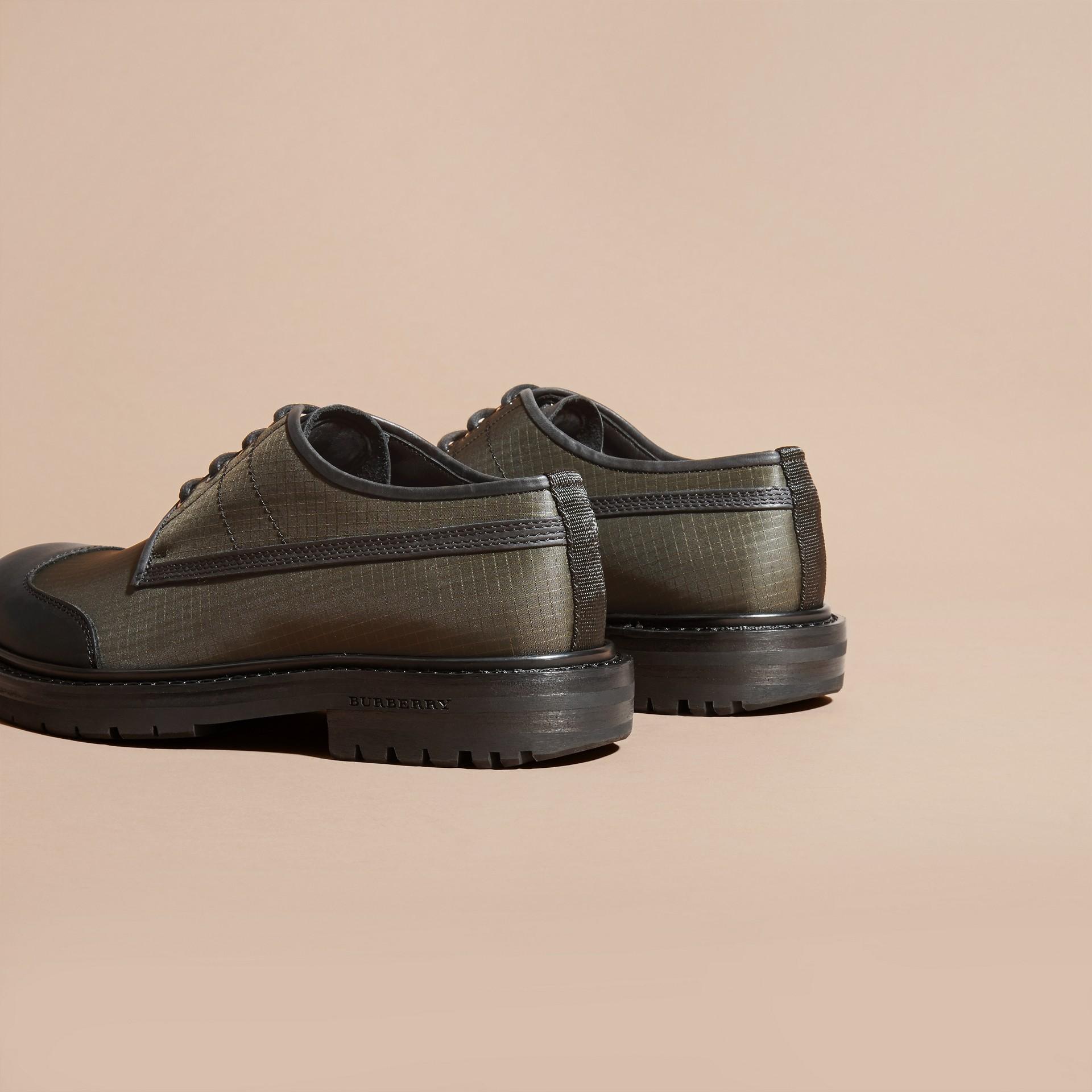 Dark brown Textured Check Leather Trim Derby Shoes Dark Brown - gallery image 4