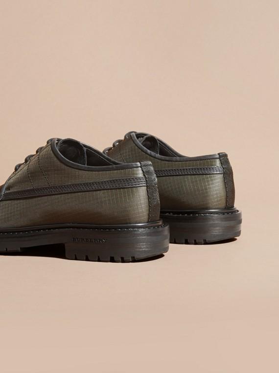Dark brown Textured Check Leather Trim Derby Shoes Dark Brown - cell image 3