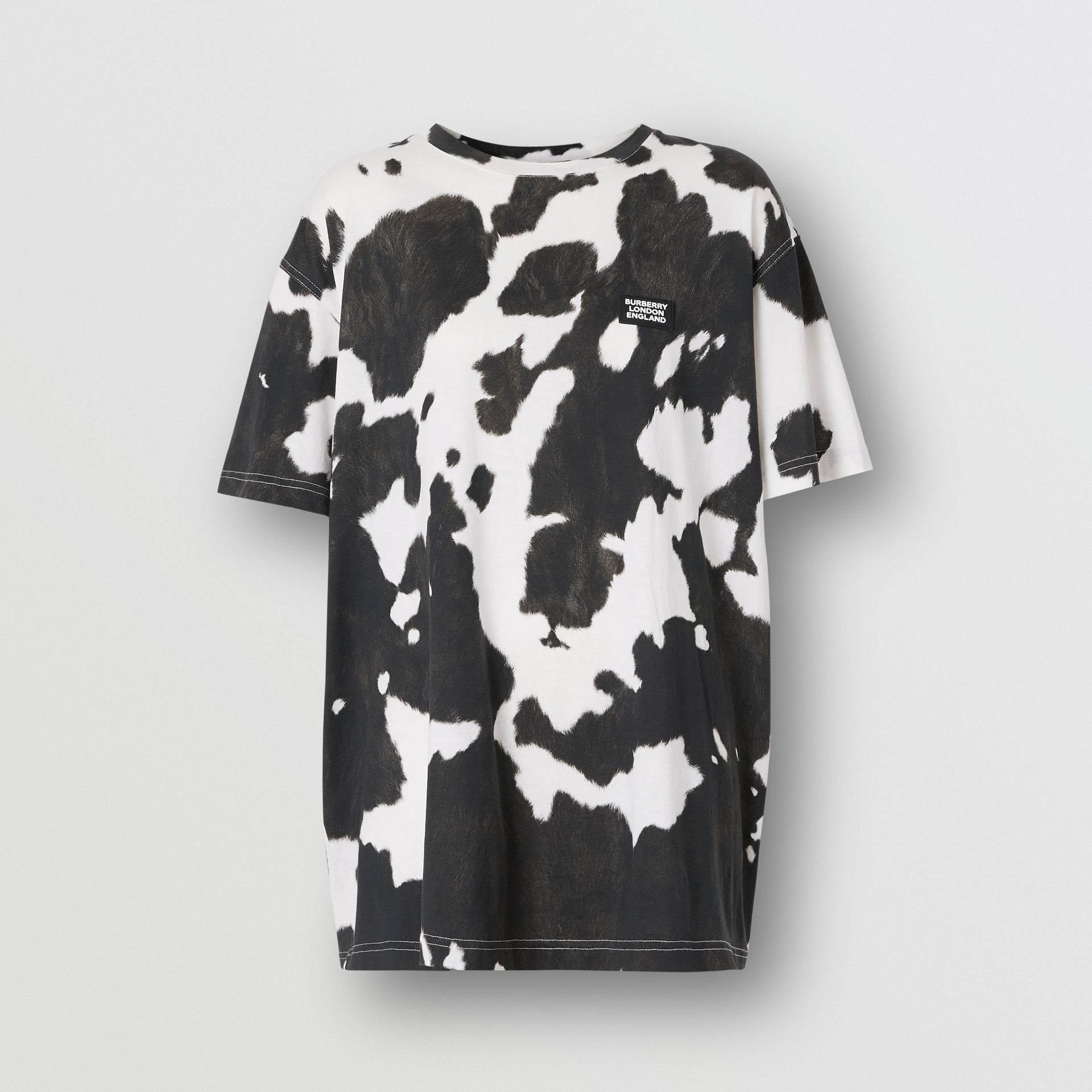 Logo Detail Cow Print Cotton Oversized T-shirt in Black - Women | Burberry - gallery image 3