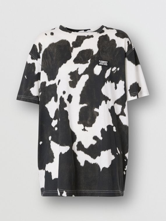 Logo Detail Cow Print Cotton Oversized T-shirt in Black