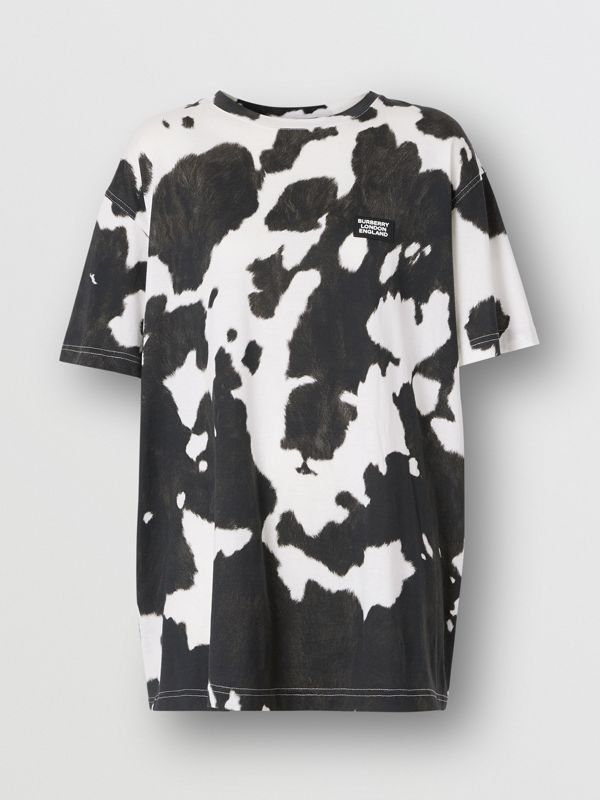 Logo Detail Cow Print Cotton Oversized T-shirt in Black - Women | Burberry United Kingdom - cell image 3