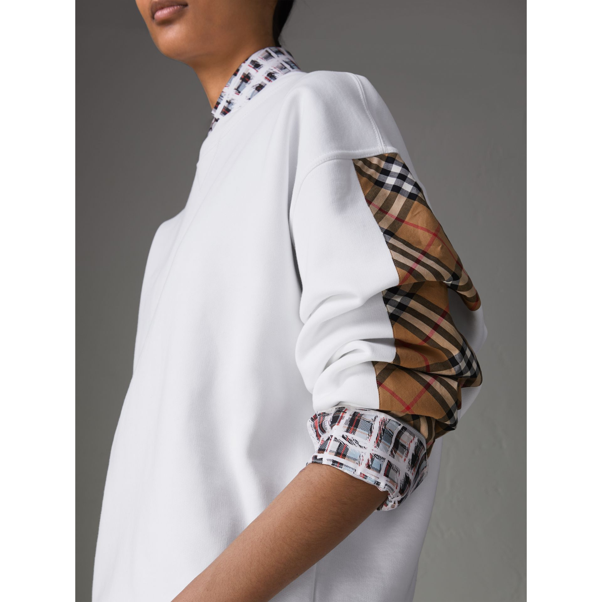 Vintage Check Detail Cotton Blend Sweatshirt in White - Women | Burberry Singapore - gallery image 1