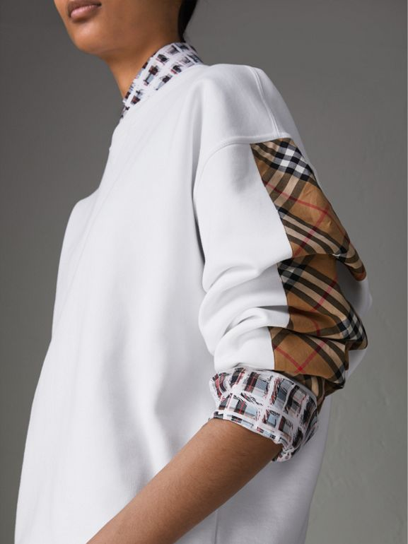 Vintage Check Detail Cotton Blend Sweatshirt in White - Women | Burberry - cell image 1