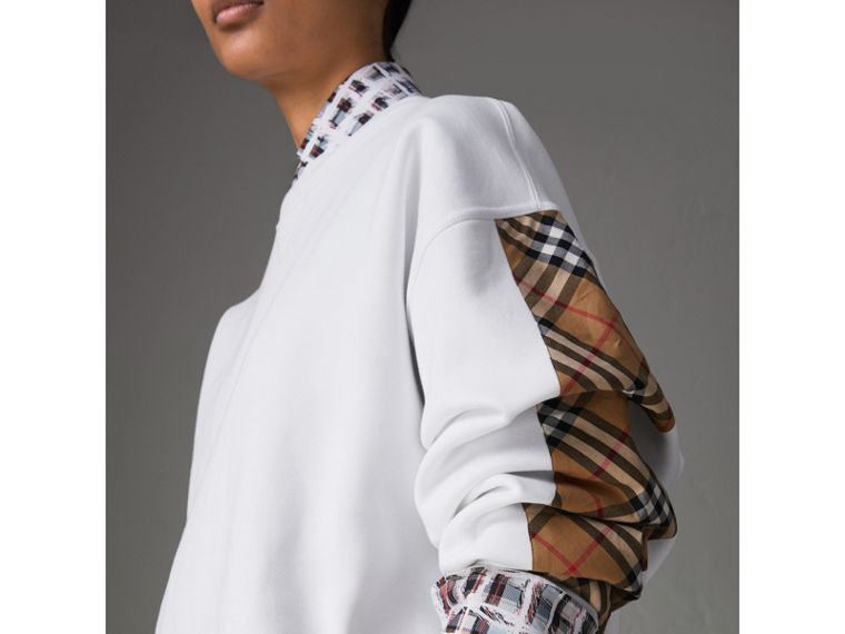 Vintage Check Detail Cotton Blend Sweatshirt in White - Women | Burberry Canada - cell image 1