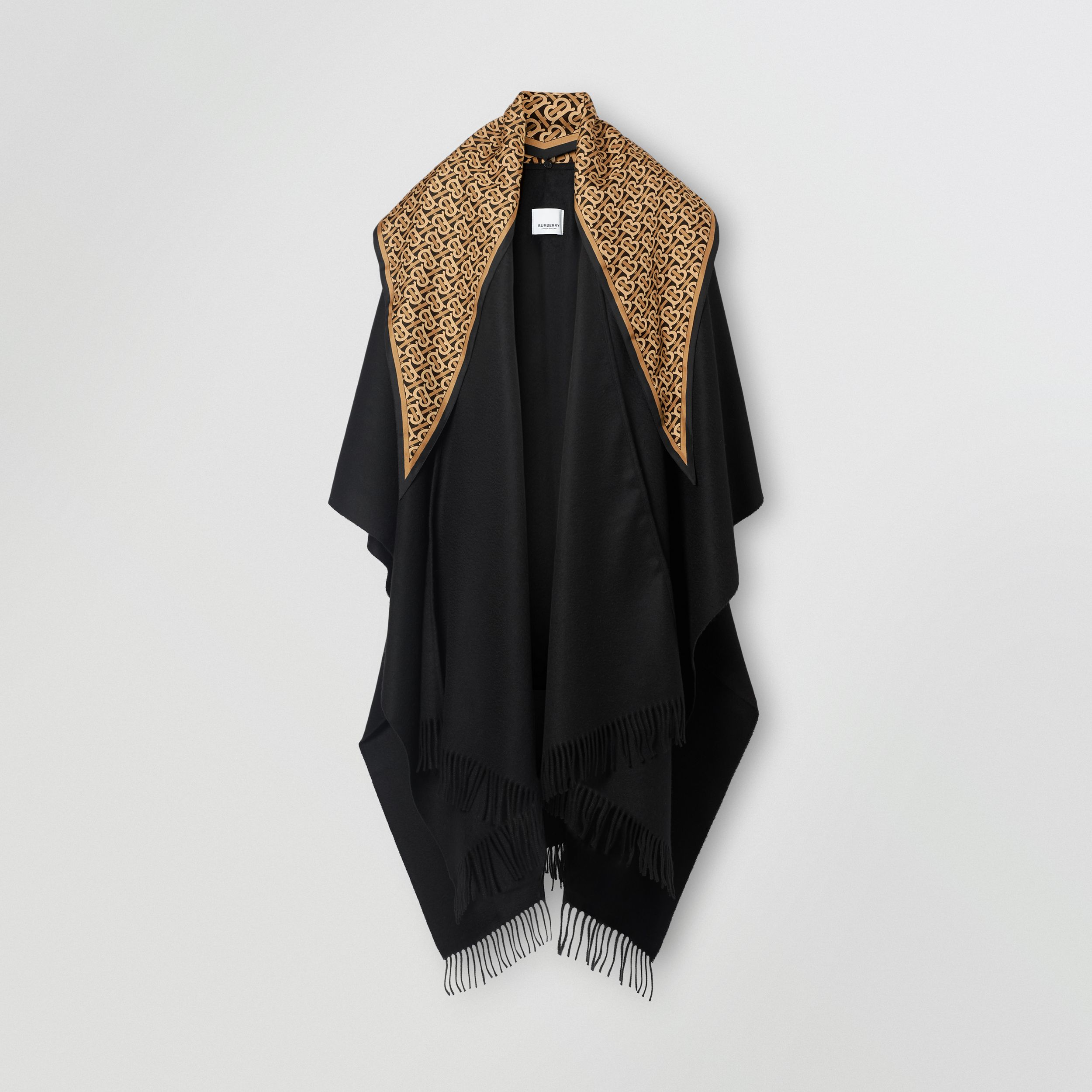 Detachable Monogram Print Scarf Cashmere Cape in Black - Women | Burberry - 4
