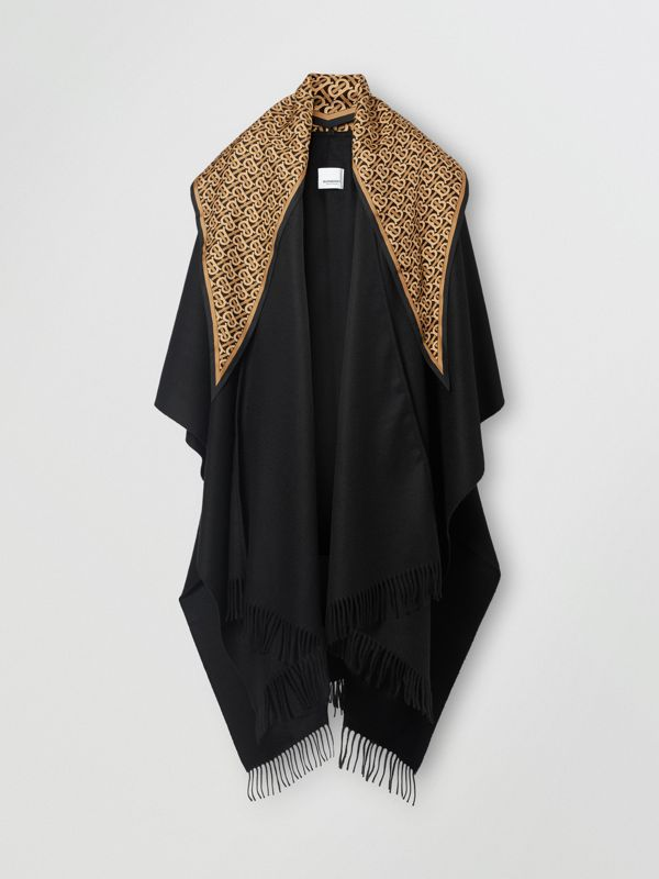 Detachable Monogram Print Scarf Cashmere Cape in Black - Women | Burberry - cell image 3