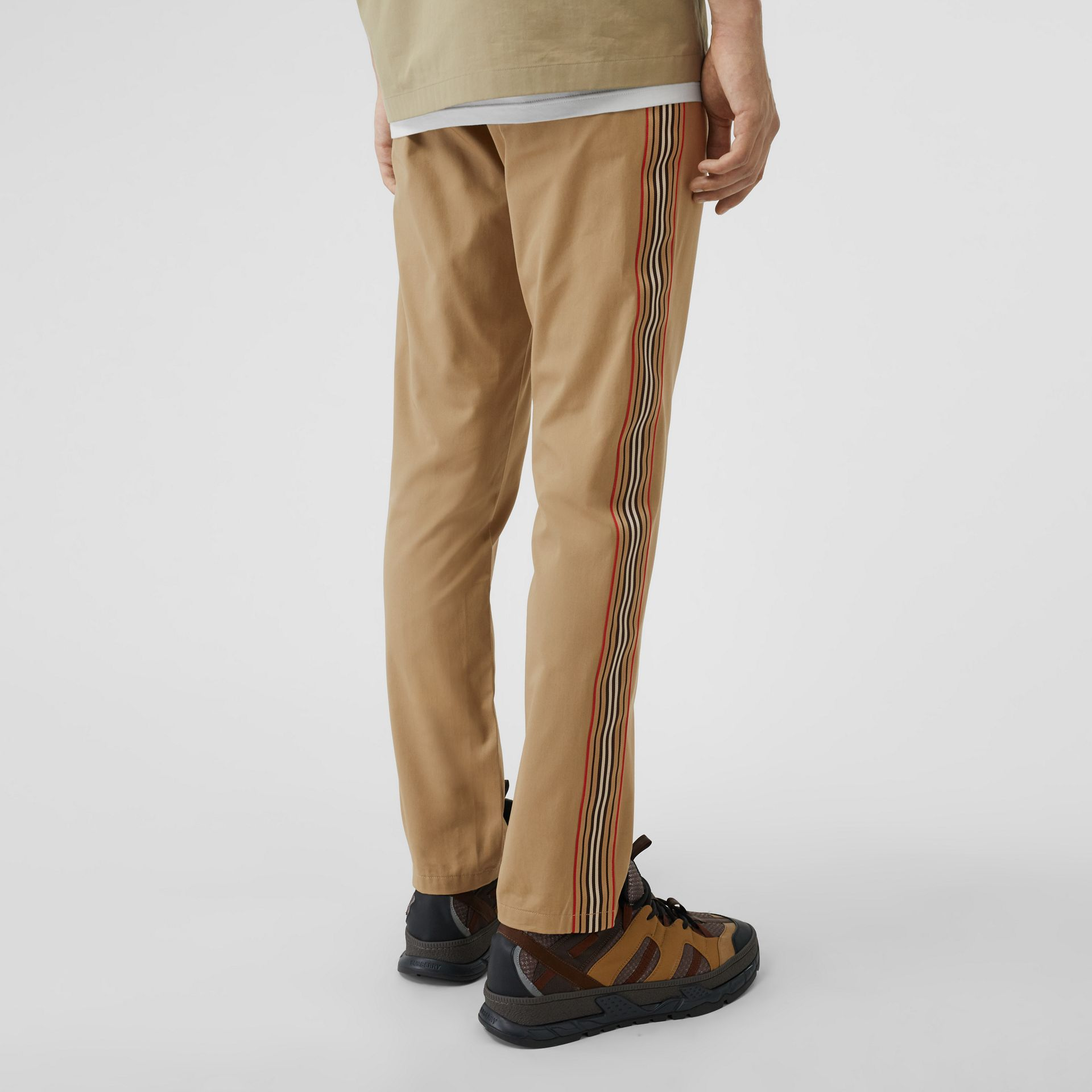 Slim Fit Icon Stripe Detail Cotton Chinos in Honey - Men | Burberry - gallery image 2
