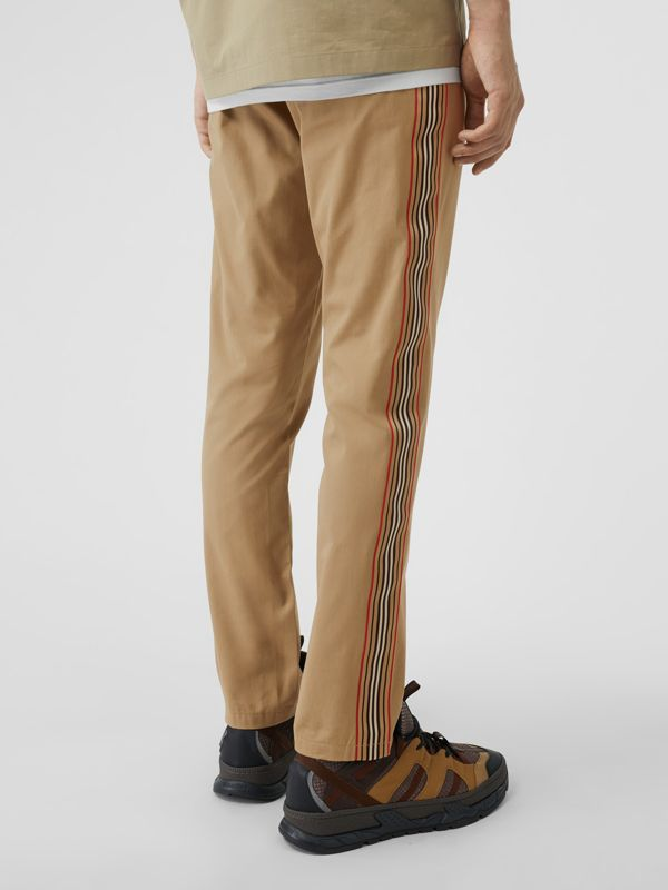 Slim Fit Icon Stripe Detail Cotton Chinos in Honey - Men | Burberry - cell image 2