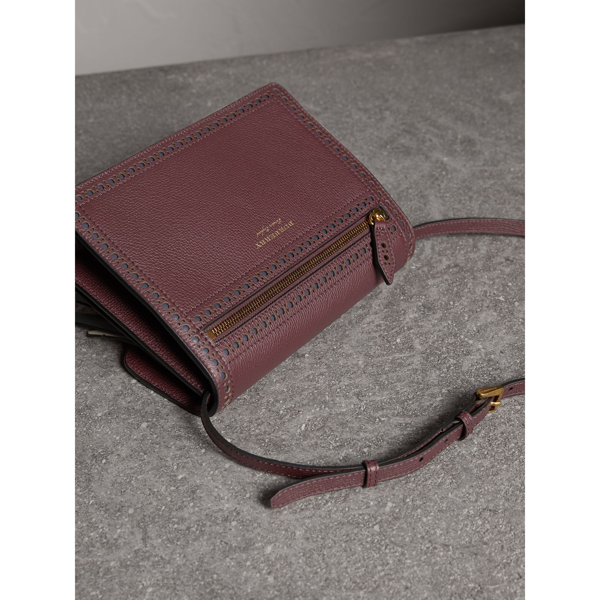 Brogue and Fringe Detail Leather Crossbody Bag in Mahogany Red - Women | Burberry Singapore - gallery image 3