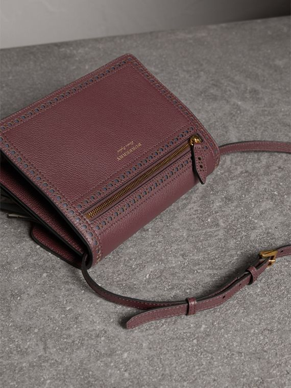 Brogue and Fringe Detail Leather Crossbody Bag in Mahogany Red - Women | Burberry Singapore - cell image 3