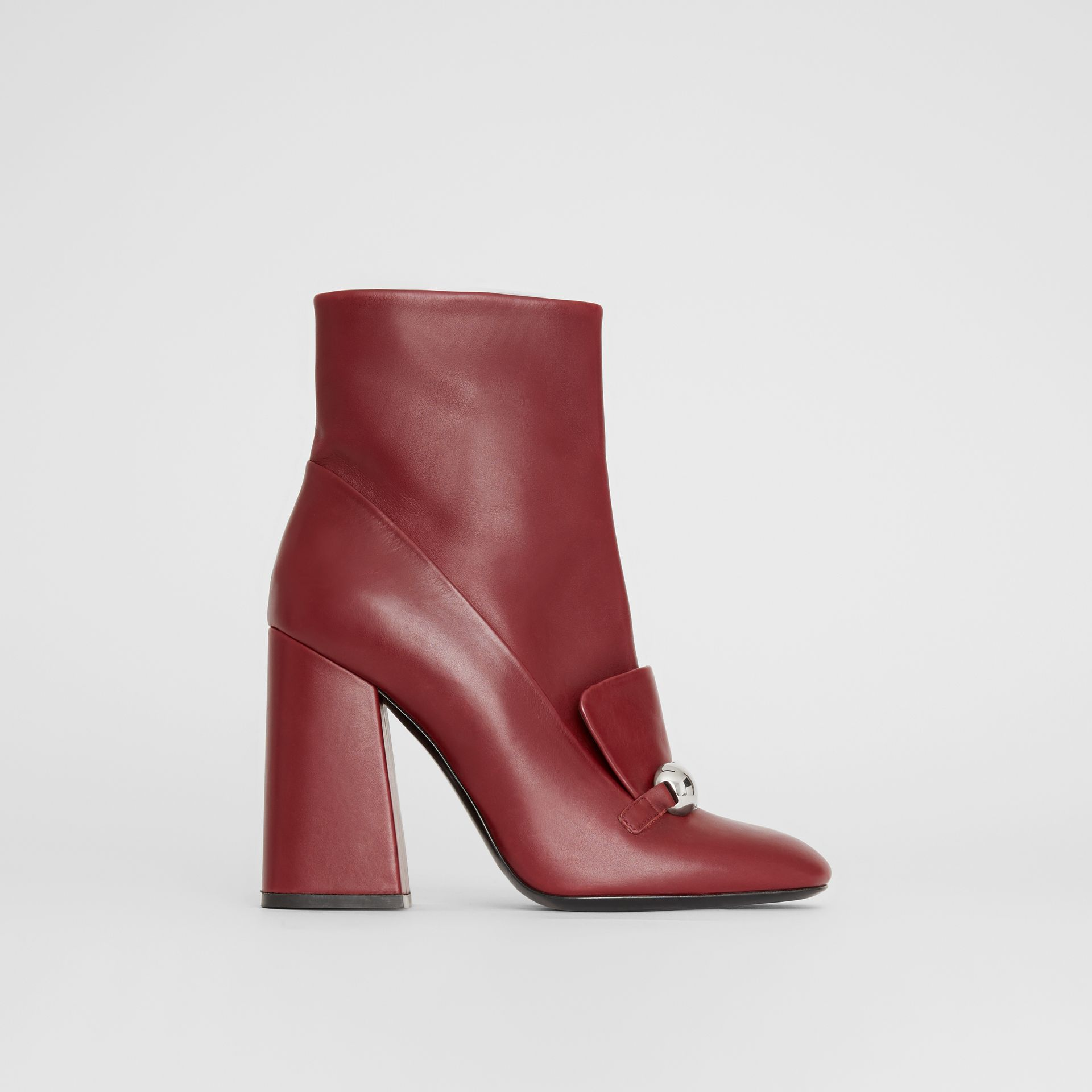 Studded Bar Detail Leather Ankle Boots in Bordeaux - Women | Burberry United States - gallery image 0