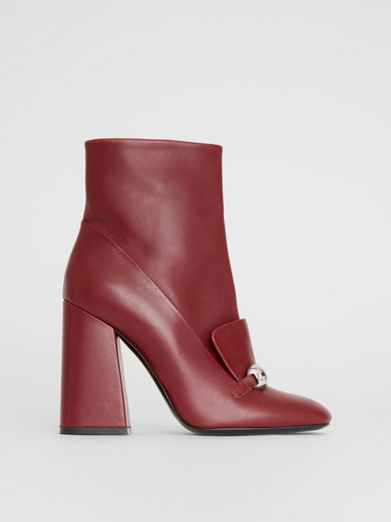 Studded Bar Detail Leather Ankle Boots in Bordeaux