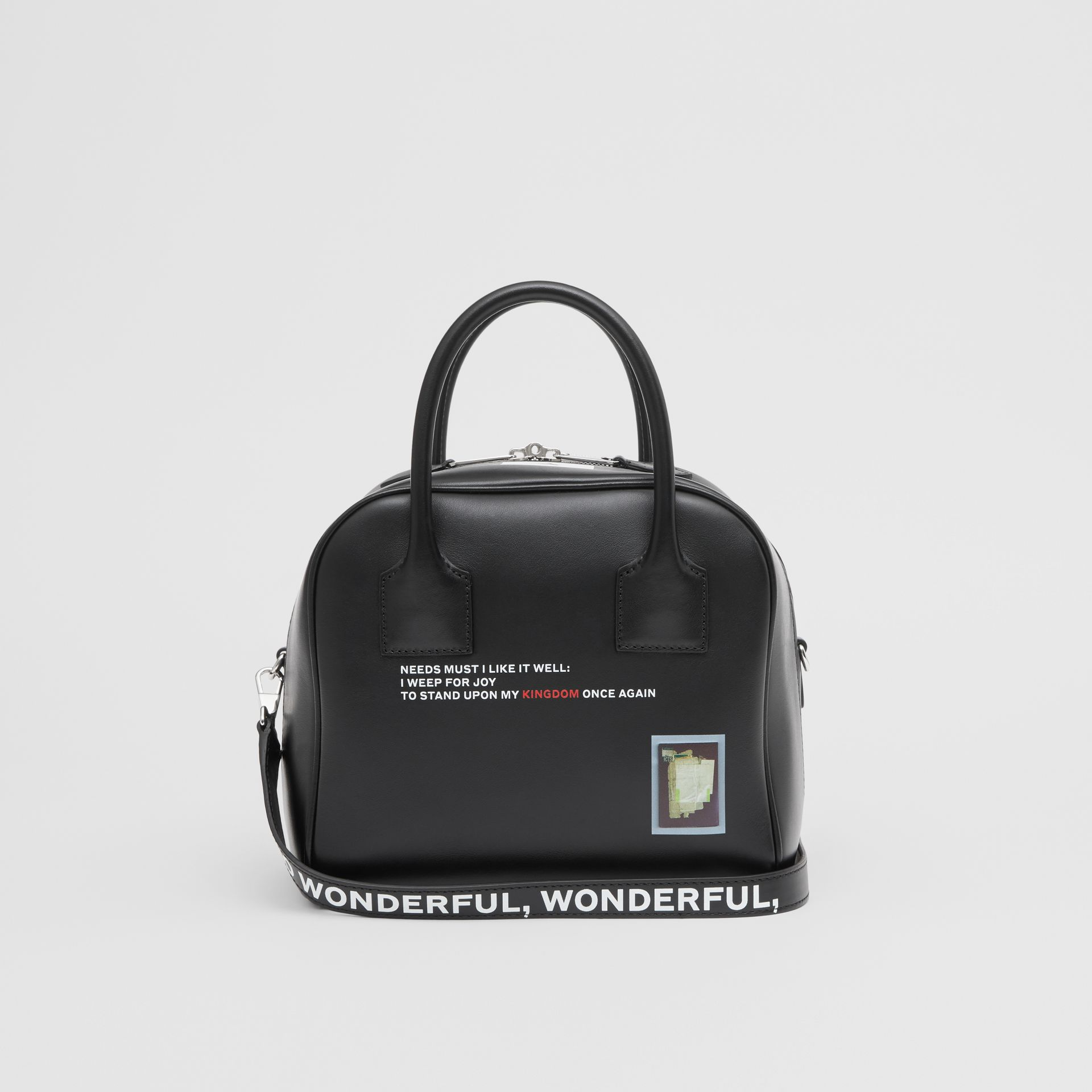 Small Montage Print Leather Cube Bag in Black - Women | Burberry Hong Kong - gallery image 7