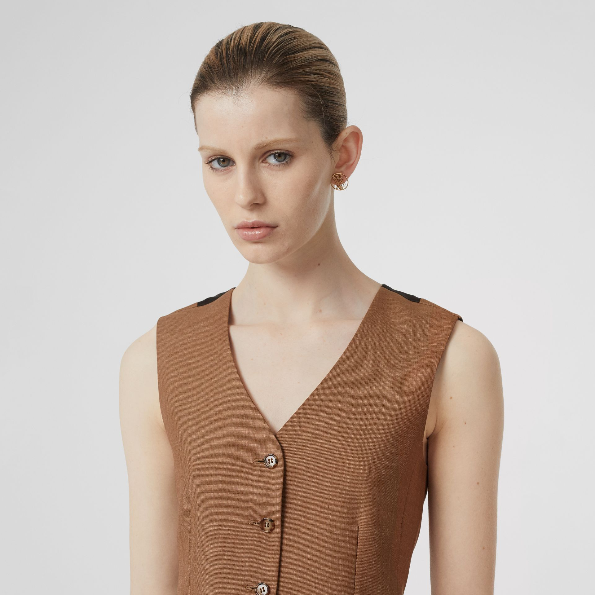 Satin Panel Mohair Wool Blend Tailored Waistcoat in Bronze - Women | Burberry - gallery image 1