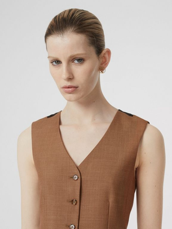 Satin Panel Mohair Wool Blend Tailored Waistcoat in Bronze - Women | Burberry - cell image 1