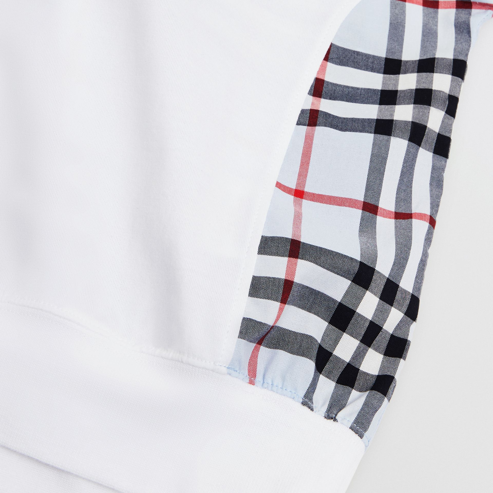 Check Panel Cotton Top in White | Burberry - gallery image 1