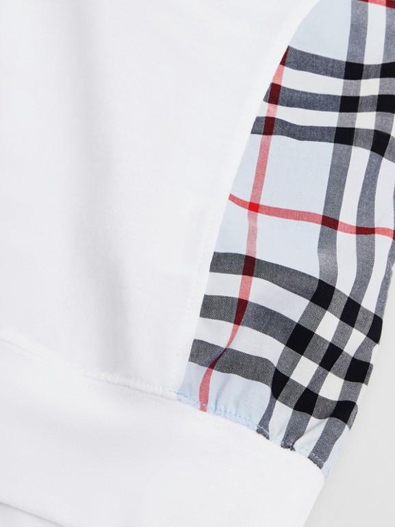 Blusa de algodão com recorte xadrez (Branco) | Burberry - cell image 1