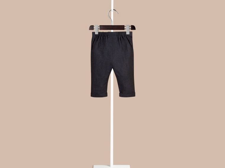 Navy Linen Turn-up Trousers - cell image 1