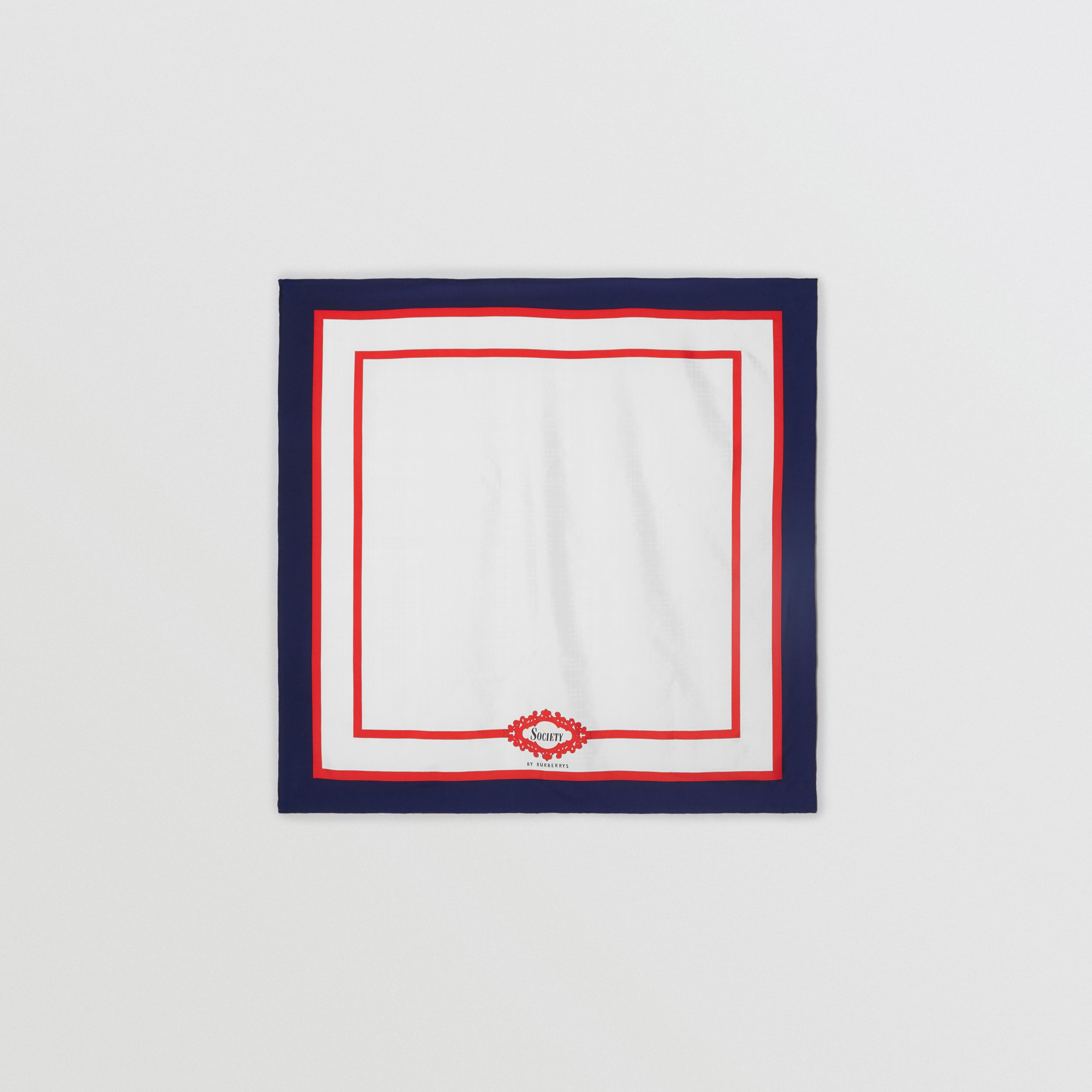 Archive Society Print Silk Square Scarf in Navy | Burberry - 1