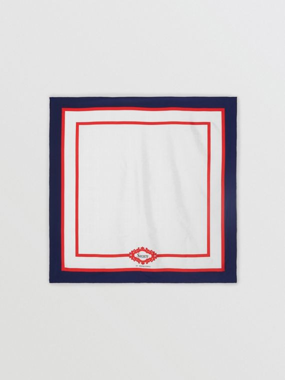 Archive Society Print Silk Square Scarf in Navy