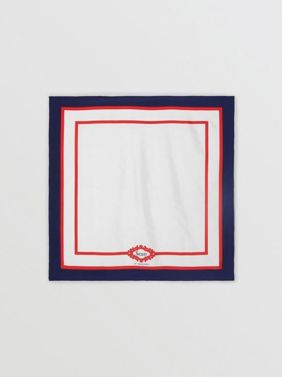 Шелковый платок с винтажным принтом (Темно-синий)