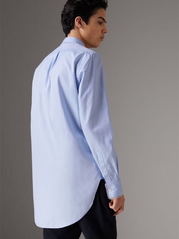 Embroidered Trim Cotton Oxford Shirt in Mid Blue - Men | Burberry - cell image 2