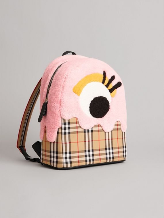 Monster Motif and Vintage Check Backpack in Antique Yellow - Girl | Burberry - cell image 3