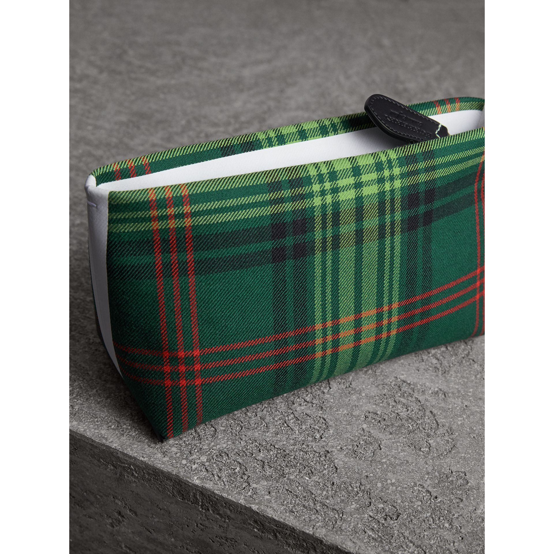 Tartan Cotton Clutch in Pine Green/blue | Burberry Singapore - gallery image 4