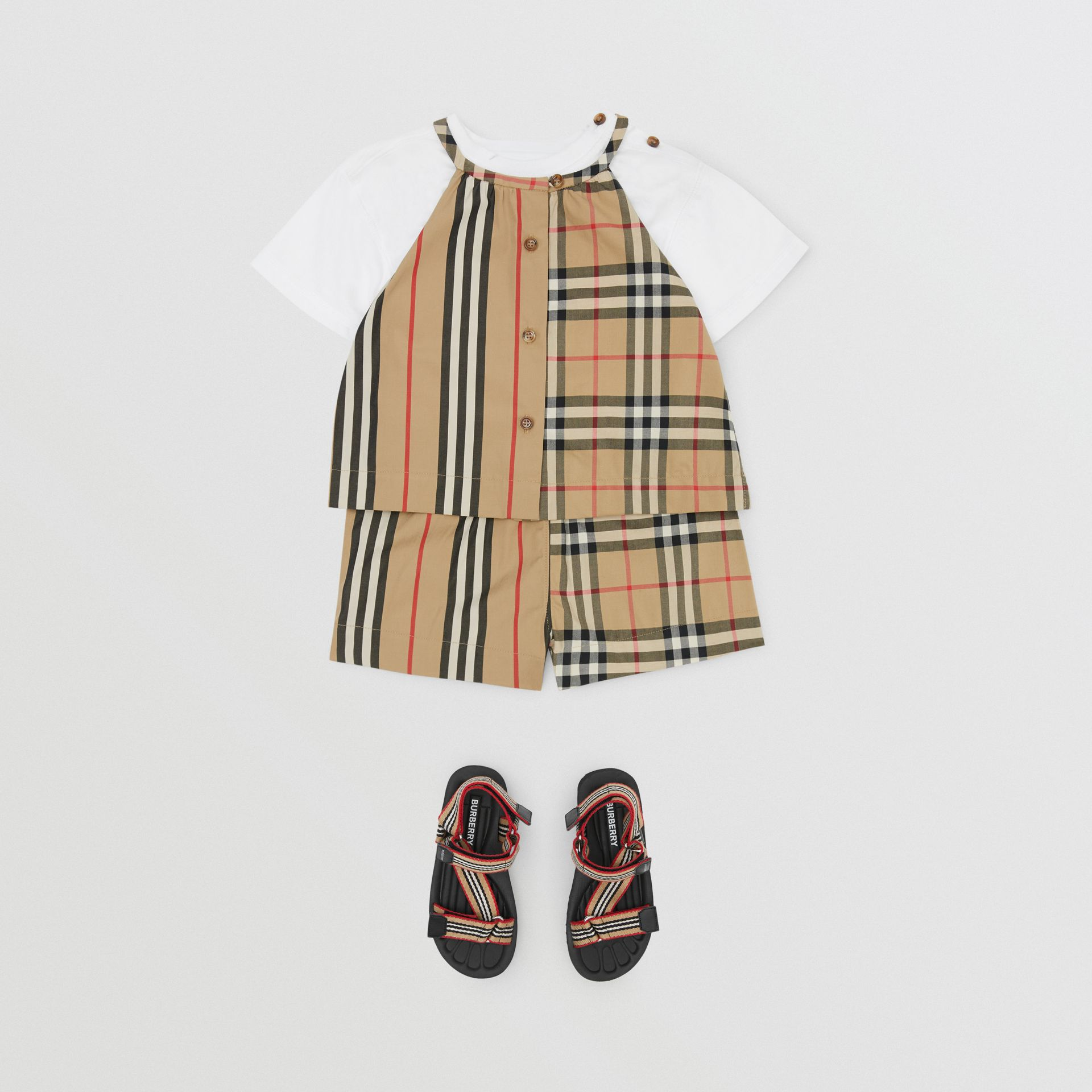 Vintage Check and Icon Stripe Cotton Playsuit in Archive Beige - Children | Burberry - gallery image 2