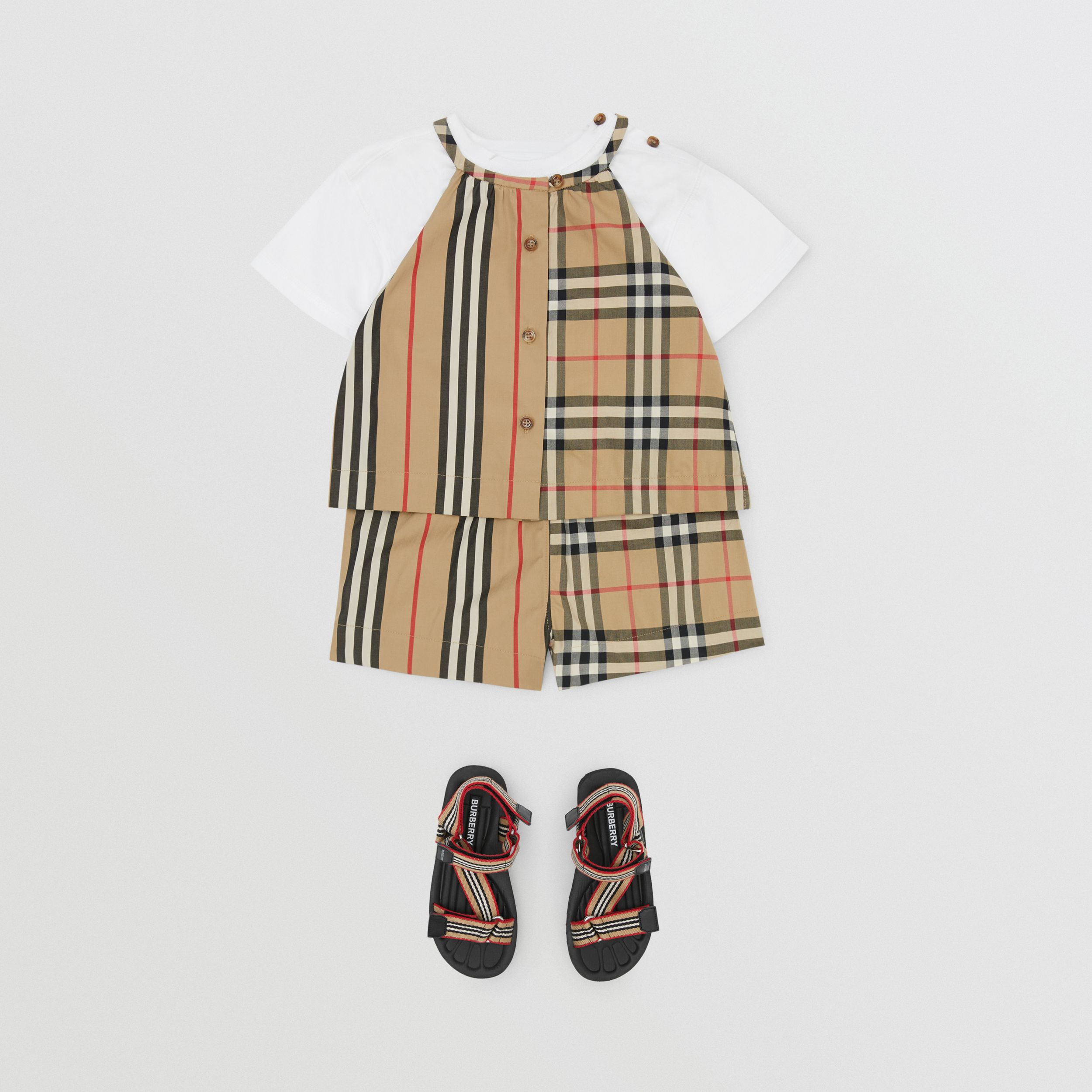 Vintage Check and Icon Stripe Cotton Playsuit in Archive Beige - Children | Burberry - 3