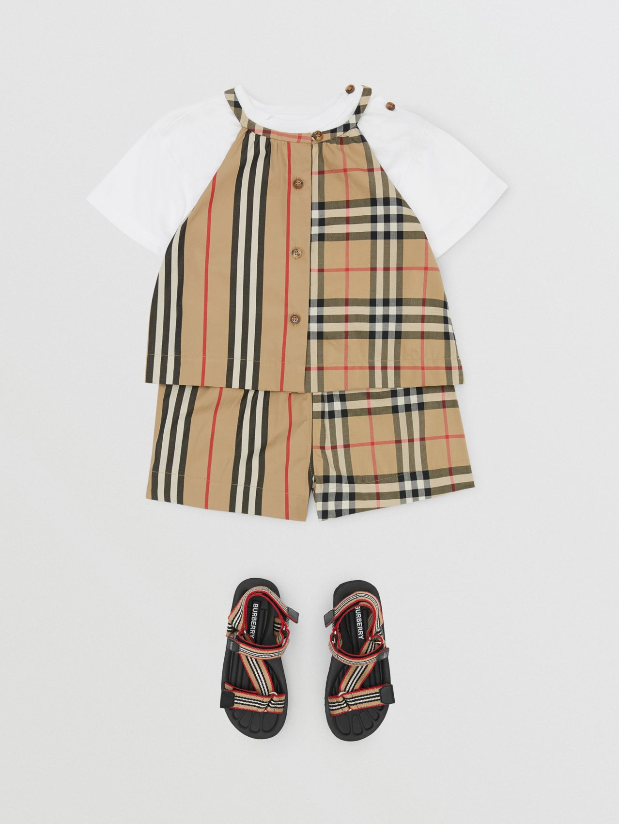 Vintage Check and Icon Stripe Cotton Playsuit (Archive Beige)