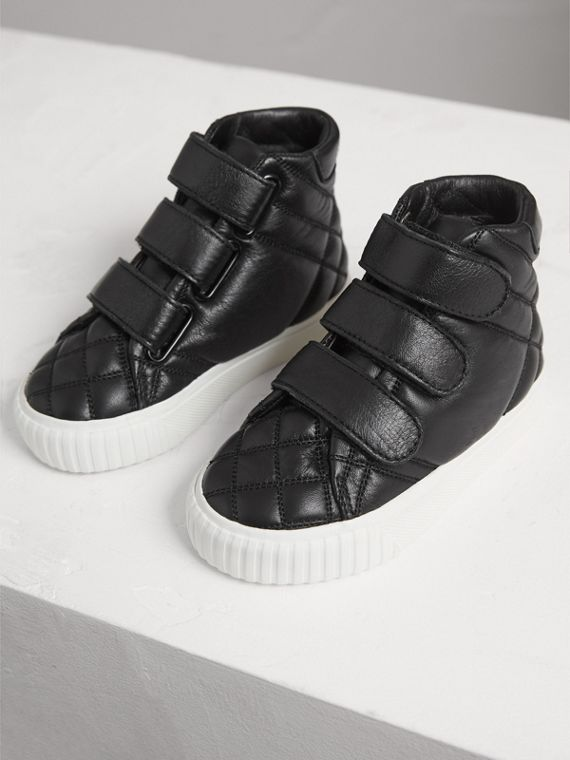 Quilted Leather High-top Trainers in Black | Burberry - cell image 3
