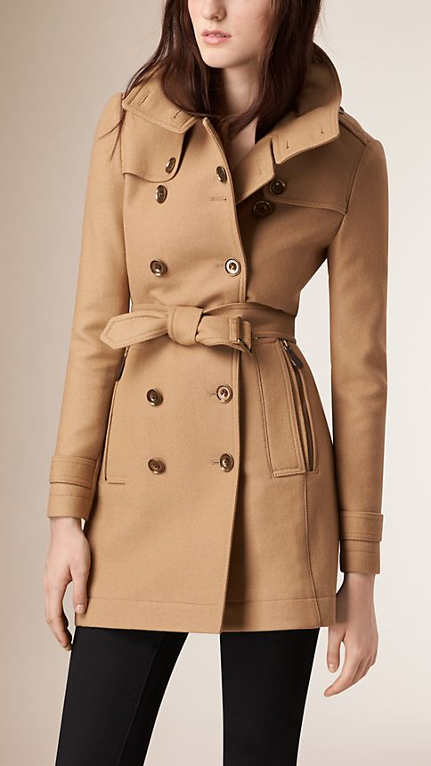 Camel Short Double Wool Twill Trench Coat - Image 2