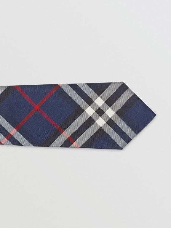 Modern Cut Vintage Check Silk Tie in Navy - Men | Burberry Australia - cell image 1
