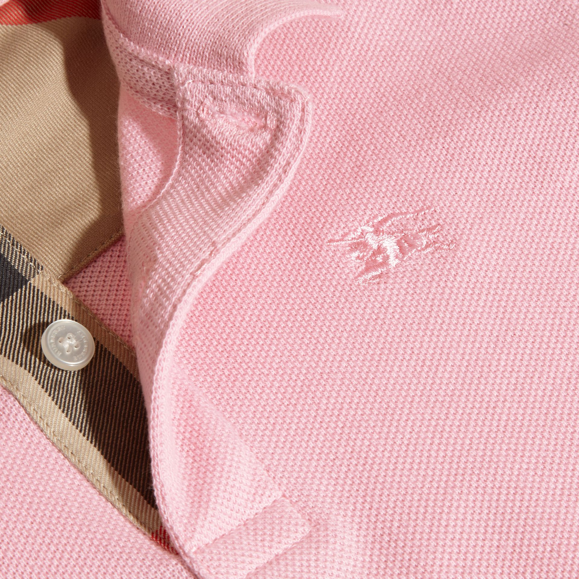 Check Placket Polo Shirt in Light Pink - Boy | Burberry - gallery image 2