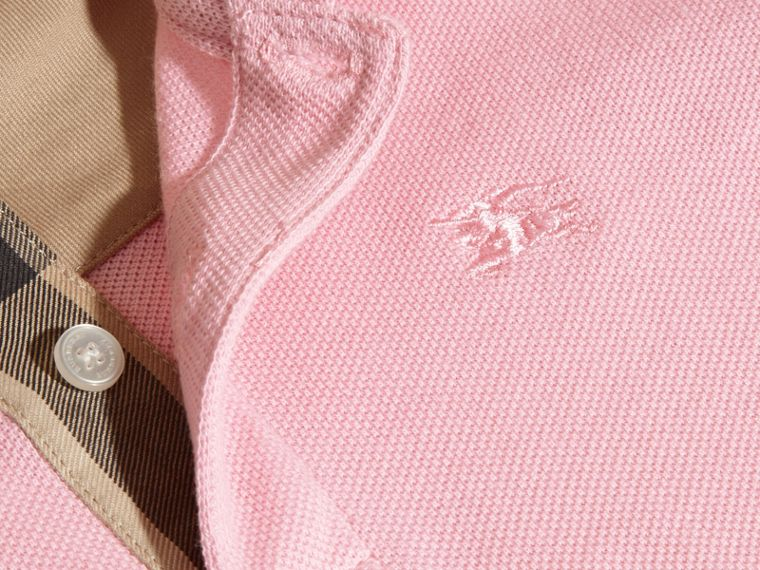 Check Placket Polo Shirt in Light Pink - Boy | Burberry - cell image 1