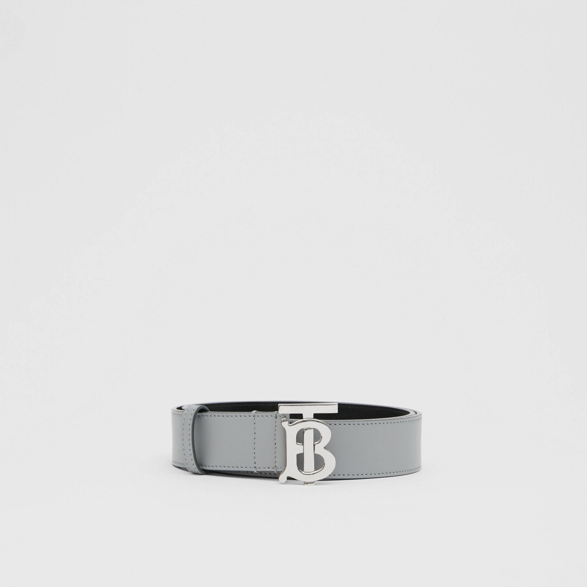 Monogram Motif Leather Belt in Cloud Grey - Men | Burberry - gallery image 3