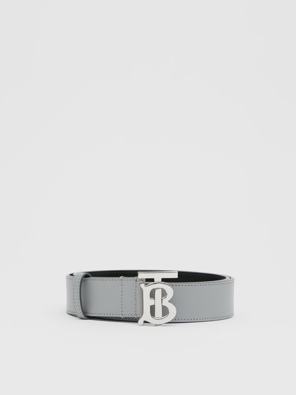 Monogram Motif Leather Belt in Cloud Grey - Men | Burberry - cell image 3