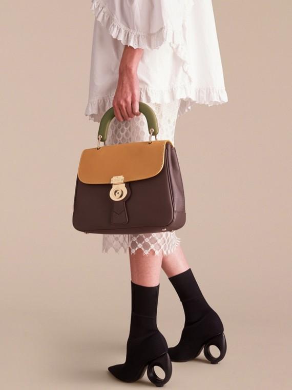 The Medium DK88 Top Handle Bag Dark Chocolate/ochre Yellow - cell image 3