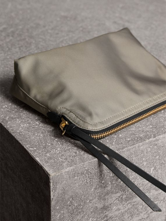 Large Zip-top Technical Nylon Pouch in Thistle Grey - Women | Burberry United Kingdom - cell image 3