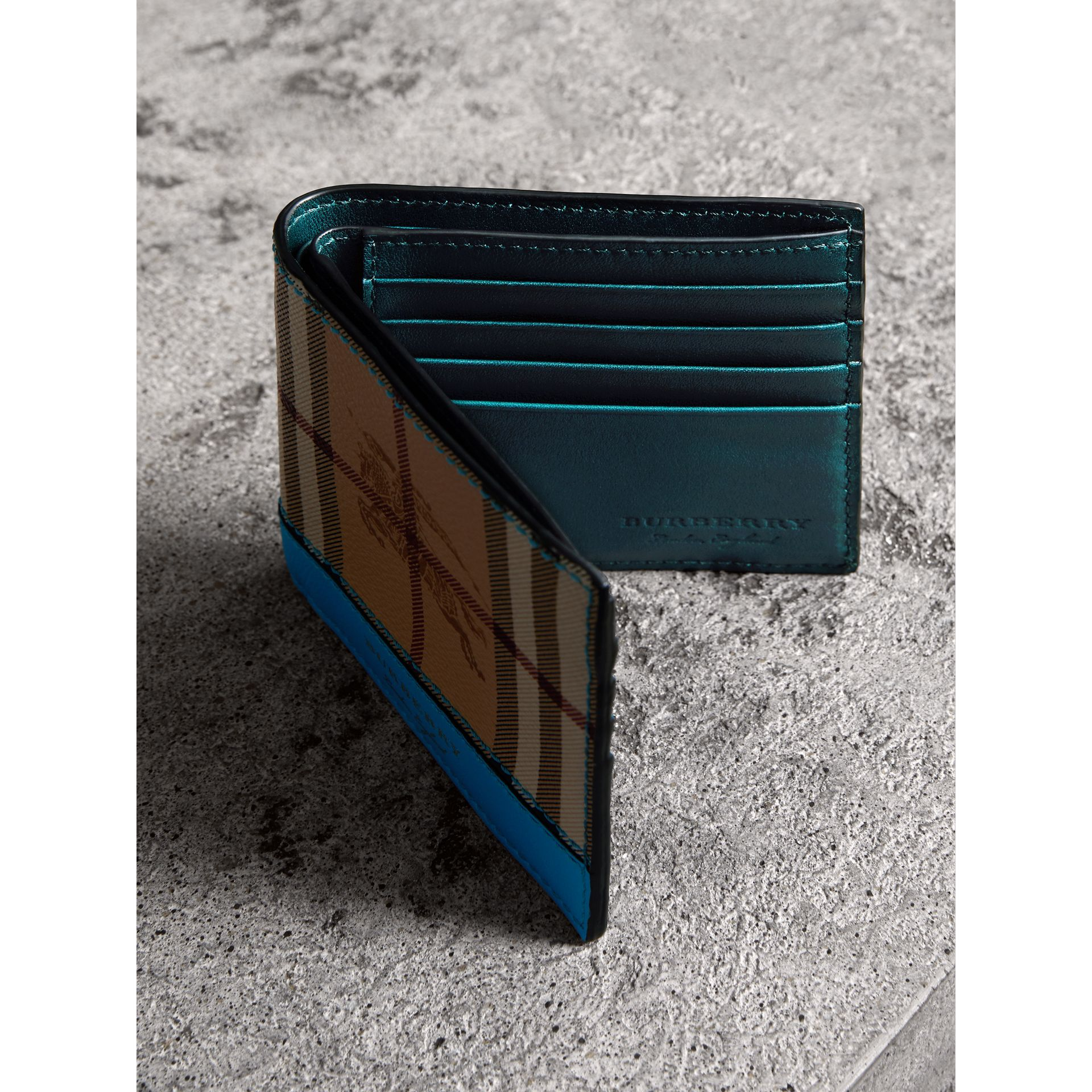 Haymarket Check International Bifold Wallet in Bright Blue - Men | Burberry - gallery image 4
